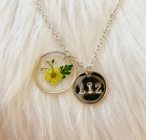 Forget Me Not Flower Hand Stamped Initial Necklace