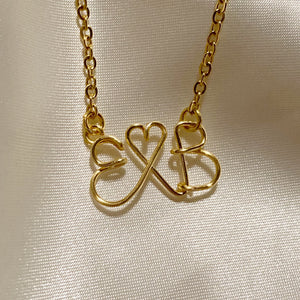 Gold Couples Initials Necklace