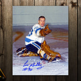 Les Binkley Pittsburgh Penguins GLOVE SAVE Autographed 8x10