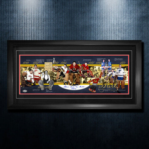 Glenn Hall Chicago Blackhawks Autographed Career Timeline 19x40 Frame