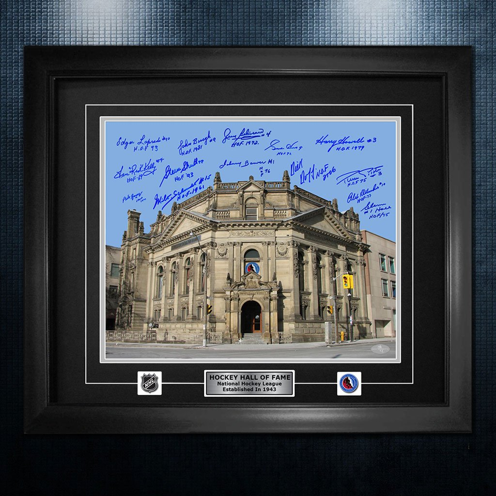 Hockey Hall Of Fame Building NHL Legends Autographed 26x32 Frame - SportAuthentix