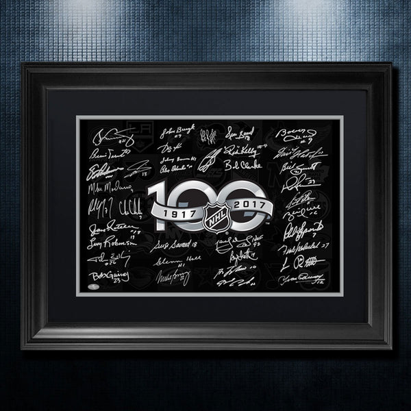 NHL TOP 100 Greatest Players Of All Time Autographed By 37 36x26 Frame