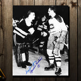 Maurice Richard Montreal Canadiens & Sugar Jim Henry Boston Bruins Autographed 11x14 Photo