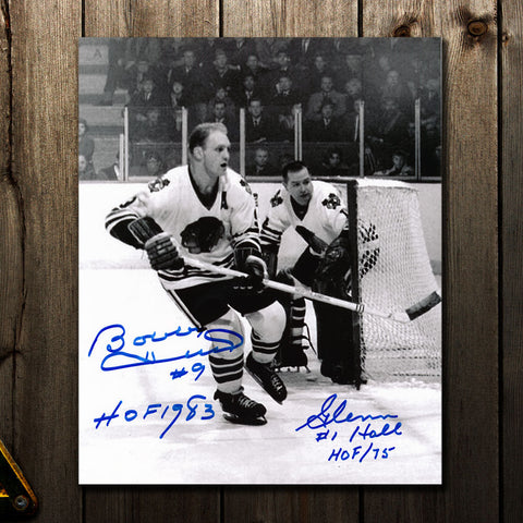 Bobby Hull & Glenn Hall Chicago Blackhawks B&W Dual Autographed 8x10