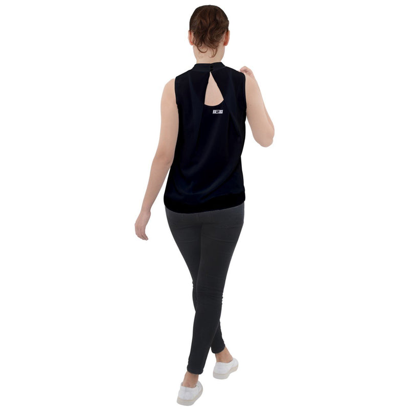 S2G Mock Neck Chiffon Sleeveless Top Black
