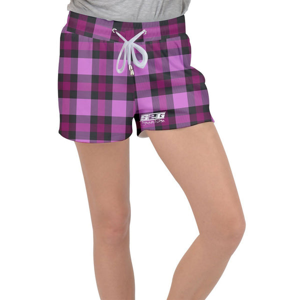S2G Pink Plaid Velour Lounge Shorts