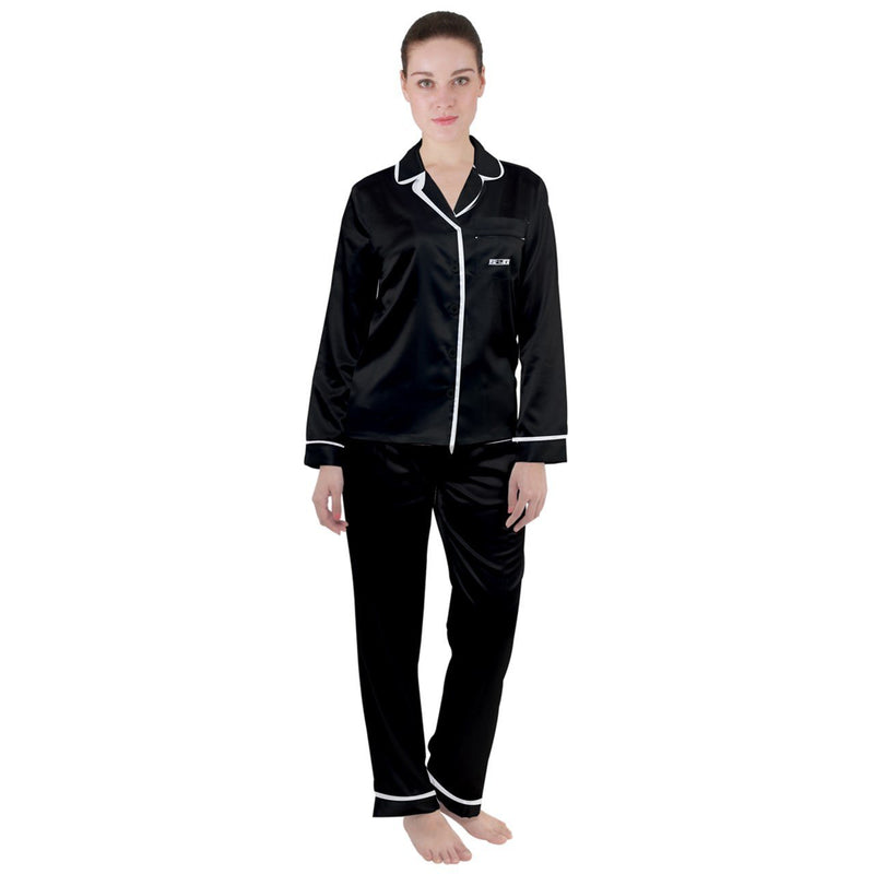 S2G Black Satin Long Sleeve PJ Set