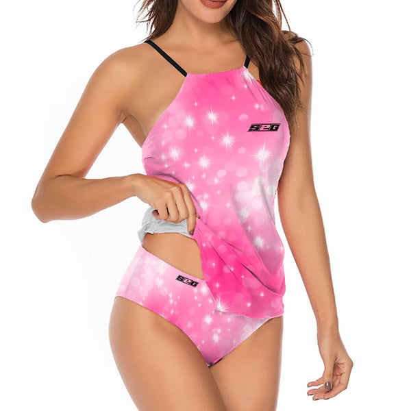 S2G Pink Galaxy Tankini Solid One-Piece Swimsuit