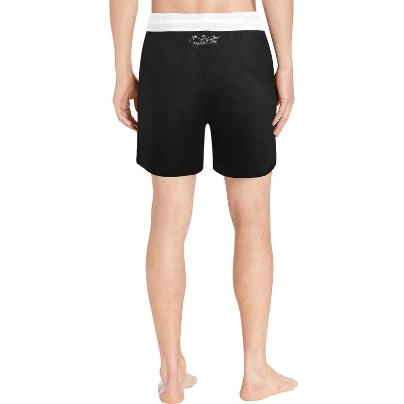 S2G Mens Black Scrip Swim Trunks V2 Men's Mid-Length Swim Shorts(Model L39)