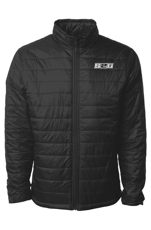 S2G BLACK EMBROIDERED PUFFER JACKET MEN