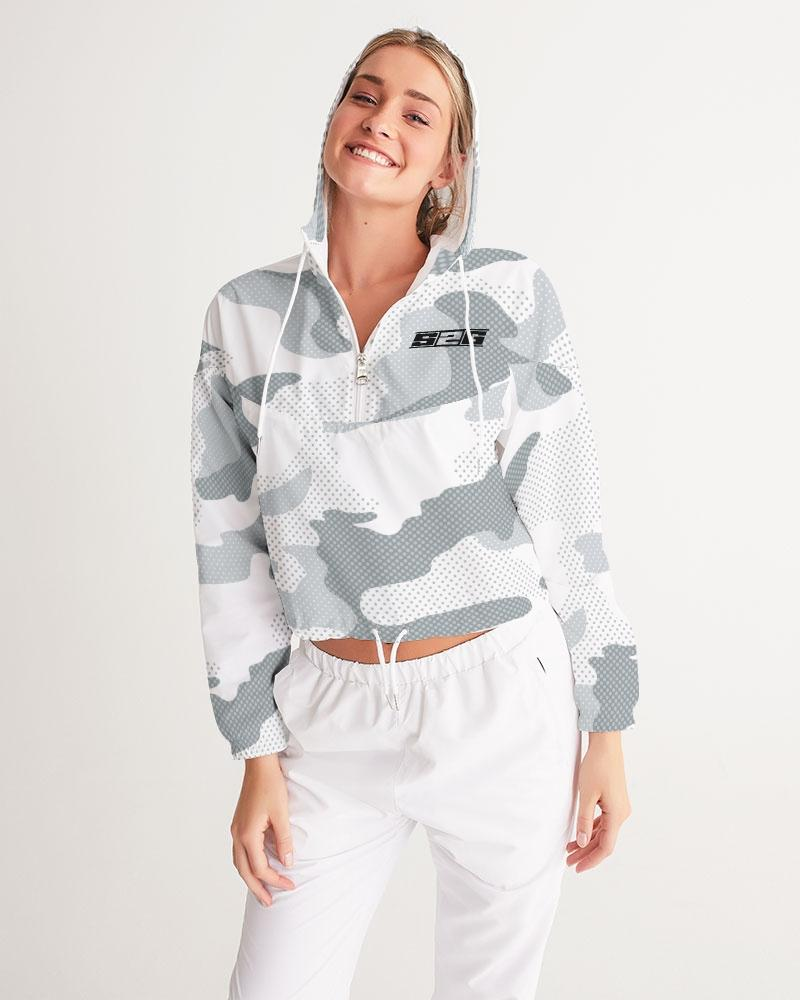S2G White camo modern print Women's Cropped Windbreaker