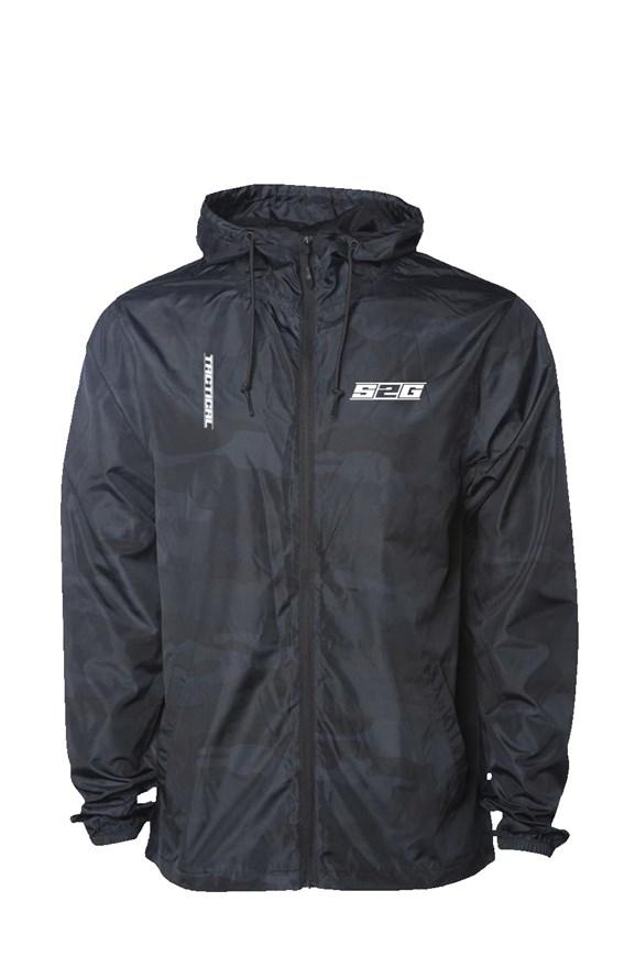 S2G Tactical Black Camo Water Resistant Windbreaker