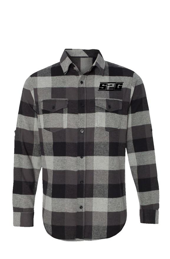 S2G Men's Long Sleeve Flannel Grey And Black