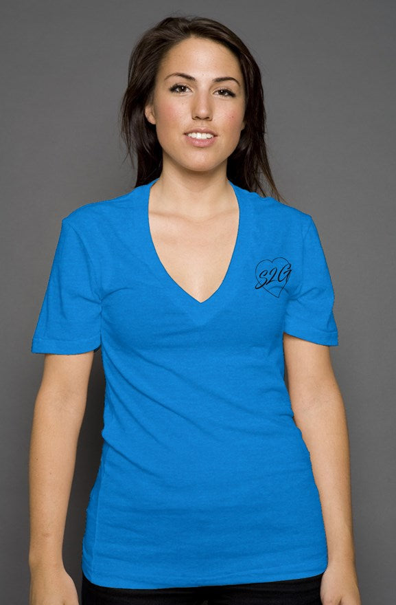 S2G Heart Logo womens deep v neck