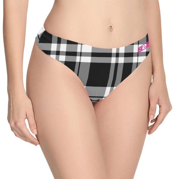 S2G Ladies Plaid Active Thong Women's Classic Thong (Model L5)