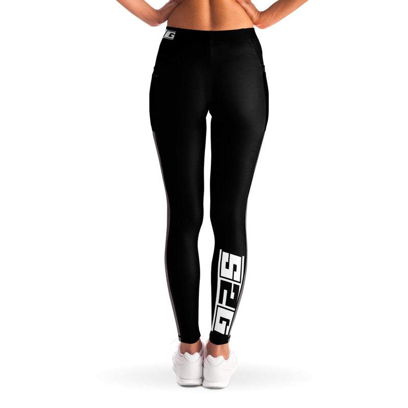 S2G Women's Black Mesh Insert Designer Leggings