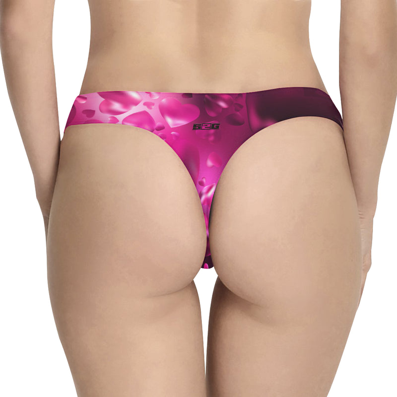 S2G Neon Pink Space Heart Active Thong Women's Classic Thong (Model L5)