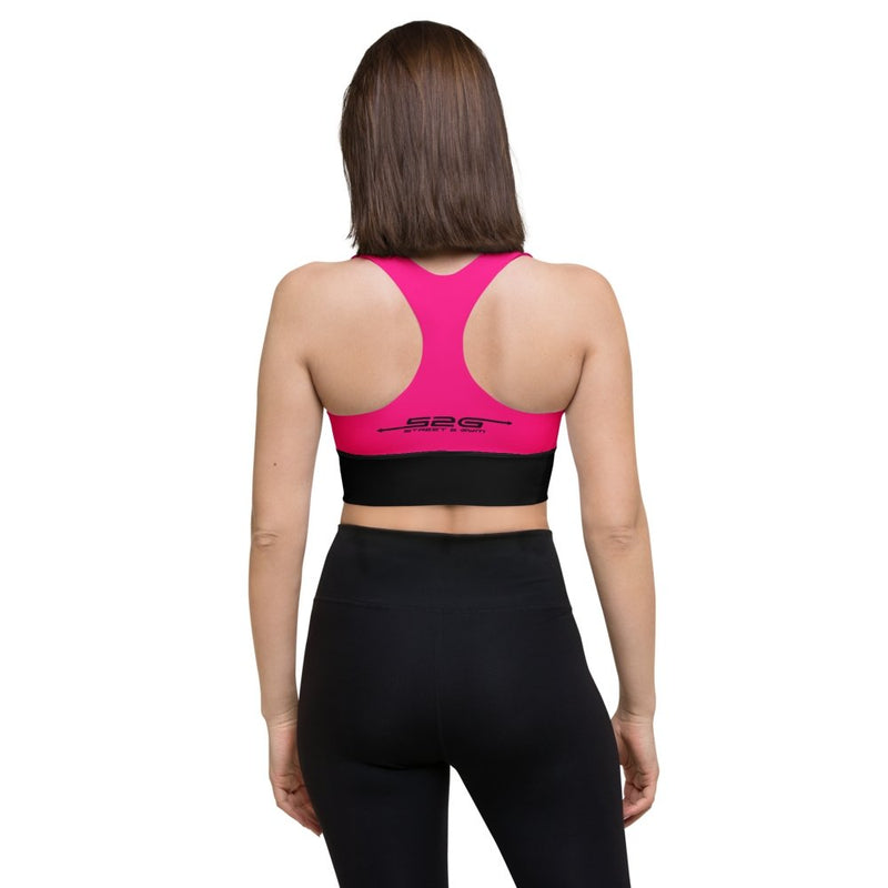 S2G Neon Pink/Black Arrow Logo Longline sports bra