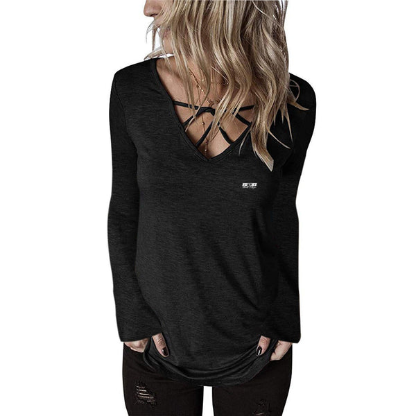 S2G Women's Stringer V Neck Long Sleeve
