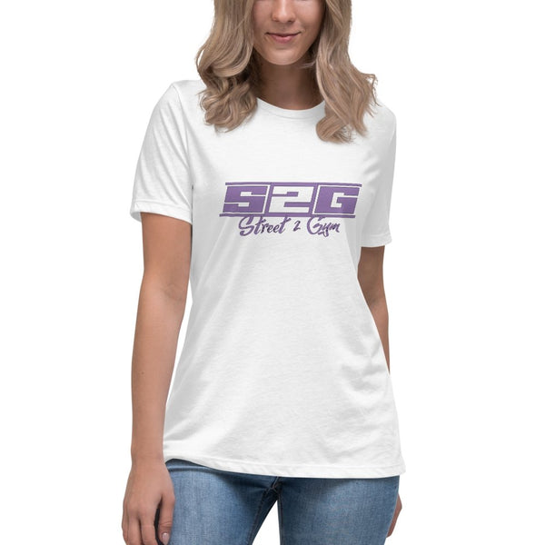 S2G Women's Relaxed T-Shirt with Violet Print