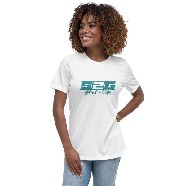 S2G Women's Relaxed T-Shirt with Teal Print