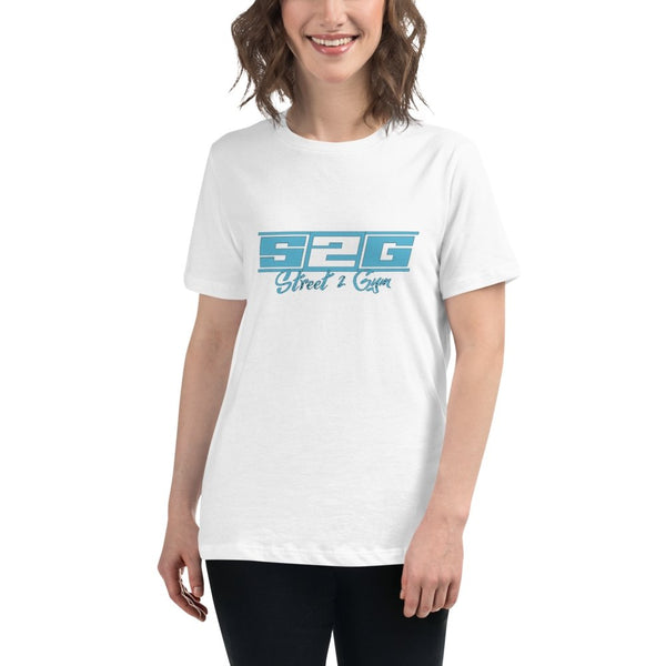 S2G Women's Relaxed T-Shirt with Blue Print