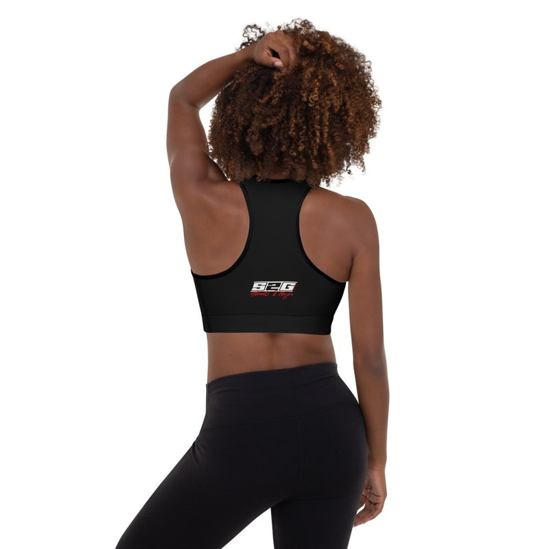 S2G Signature Series all black white logo Padded Sports Bra