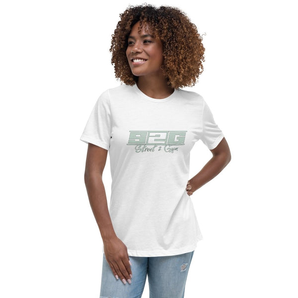 S2G Women's Relaxed T-Shirt with Mint Print