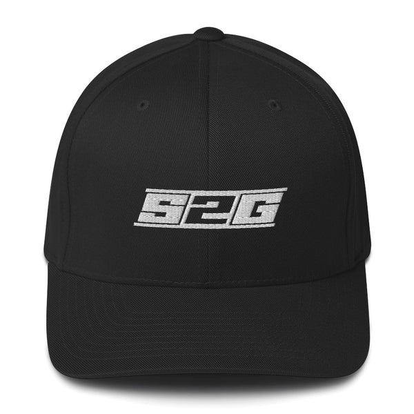 S2G BLACK WITH WHITE logo FLEXFIT Structured Twill Cap