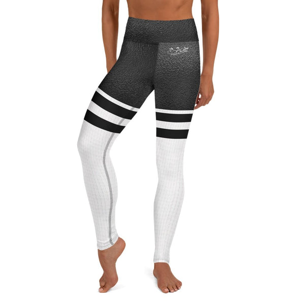 S2G Black and White thigh high sock High Waist Leggings