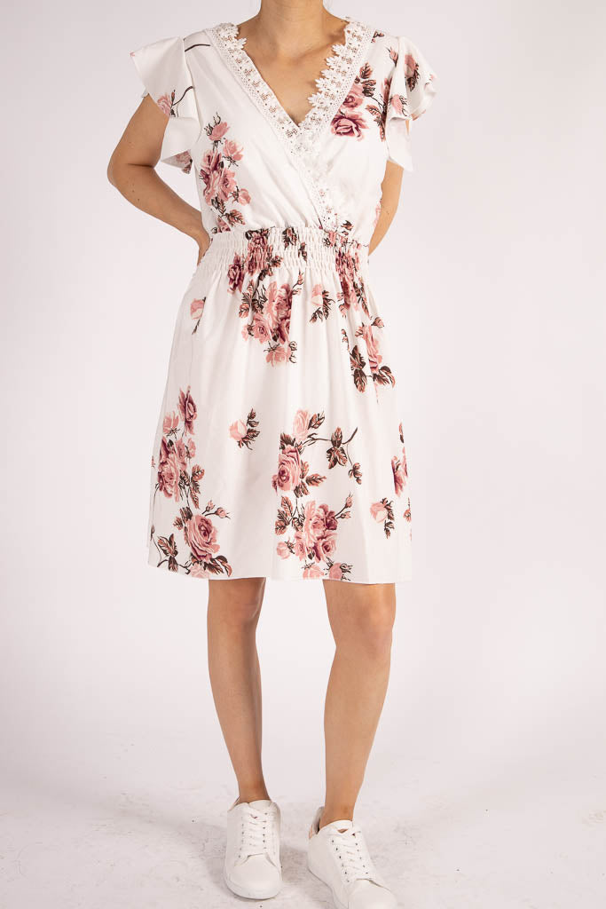 Flower dress m. blonde, hvid