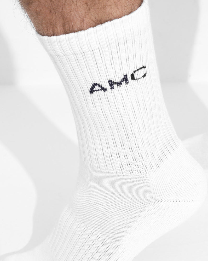 White/Navy AMC Crew Socks