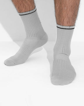 Grey/Black Performance Crew Socks