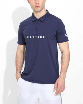 Navy Performance Golf Zip Polo