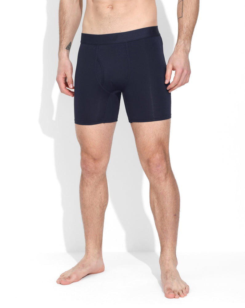 Navy Long Length Boxer
