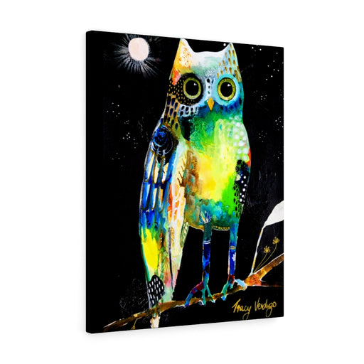 Vibrant Wonky Owl Print by Tracy Verdugo on Canvas - Design Tank