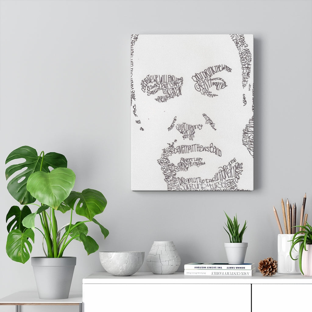 Dave Matthews Lyrical Portrait Print on Canvas by Amanda Lea Pulis - www.thedesigntank.com