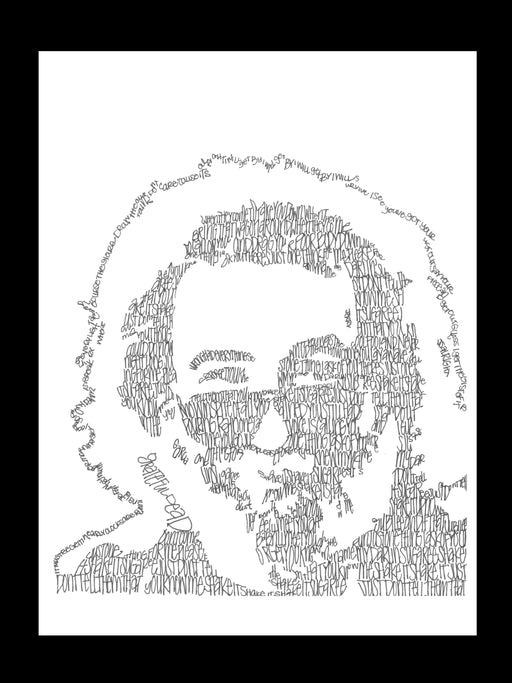 Jerry Garcia Lyrical Portrait Print on Fine Art Paper by Amanda Lea Pulis - www.thedesigntank.com