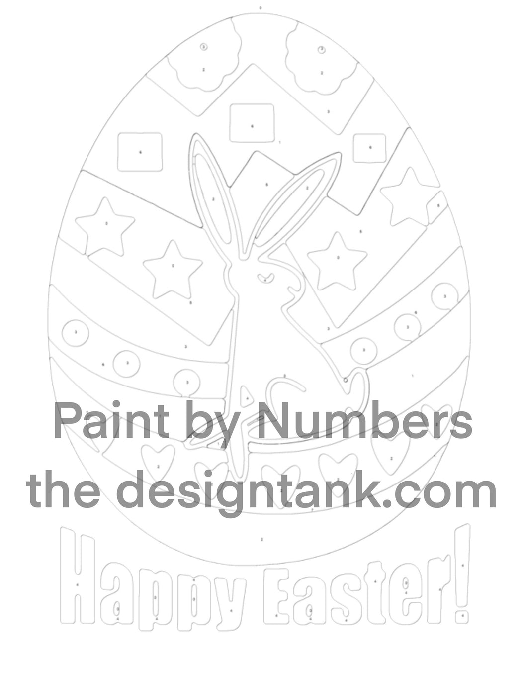 Downloadable Happy Easter Paint by Numbers - www.thedesigntank.com
