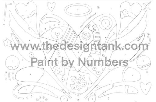Downloadable Paint by Numbers Heart Painting - www.thedesigntank.com