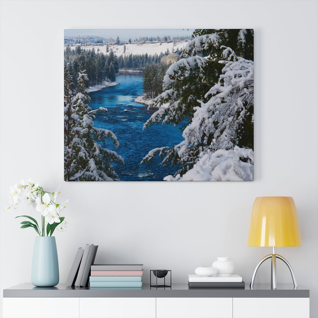 Spokane River in the Winter Print on Canvas - www.thedesigntank.com