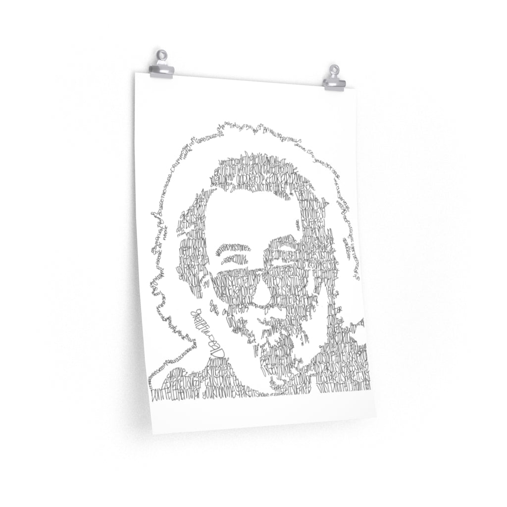 Jerry Garcia Lyrical Portrait Print on Fine Art Paper by Amanda Lea Pulis - Design Tank