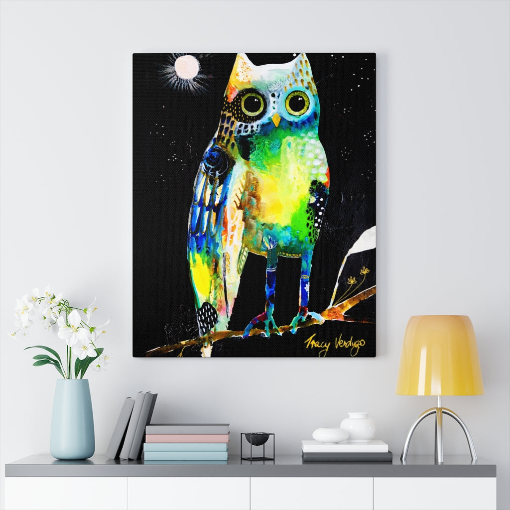 Vibrant Wonky Owl Print by Tracy Verdugo on Canvas - www.thedesigntank.com