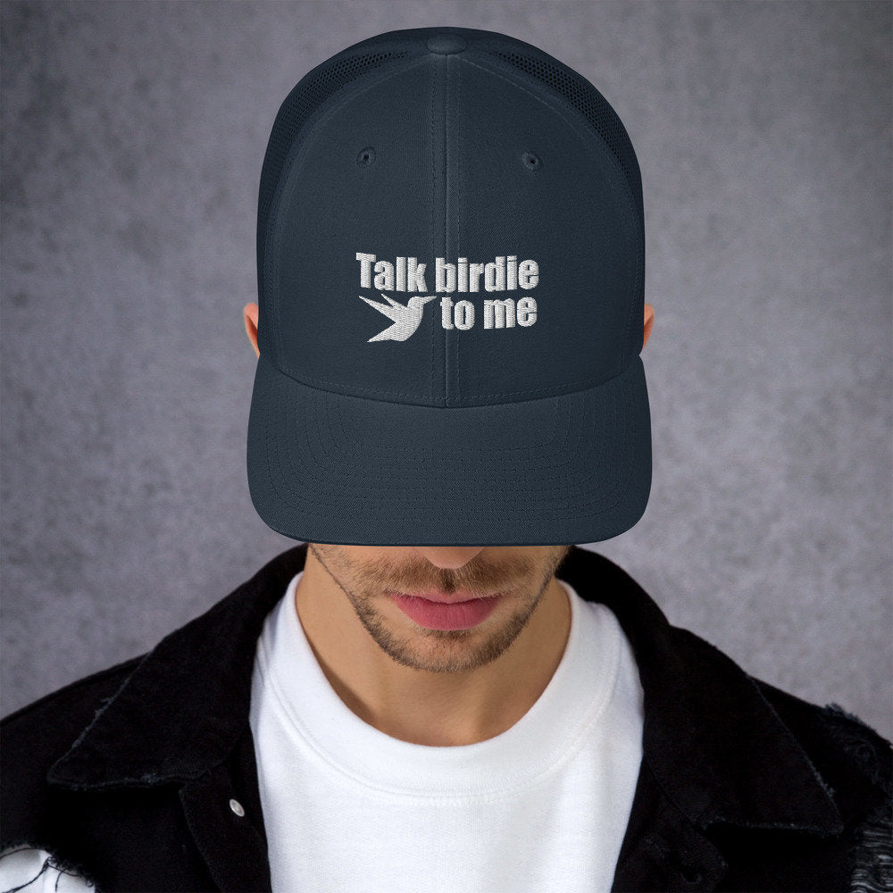 Talk Birdie to me Trucker Hat for Golf - www.thedesigntank.com