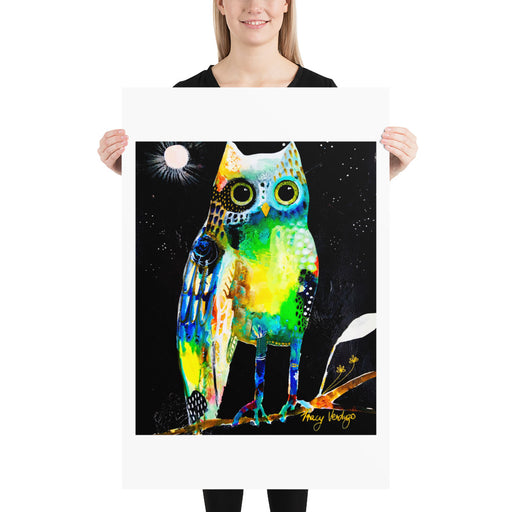 Wonky Owl Print by Tracy Verdugo on Fine Art Paper - www.thedesigntank.com