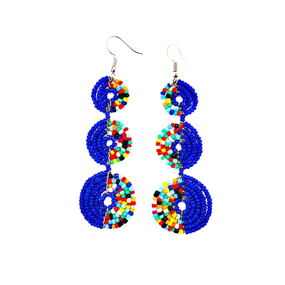 Maasai Tier Earrings - Blue Multi