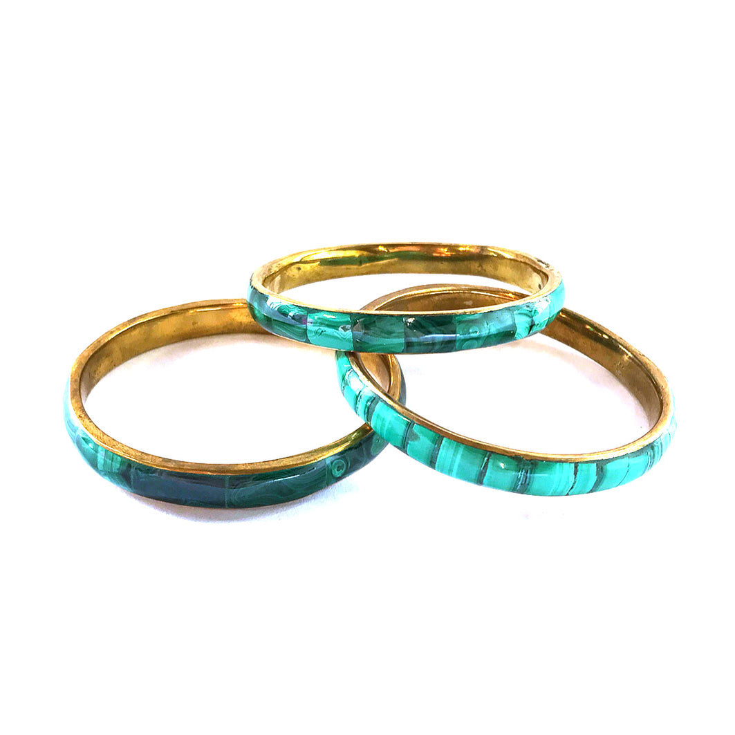 Malachite and Recycled Brass Bangle