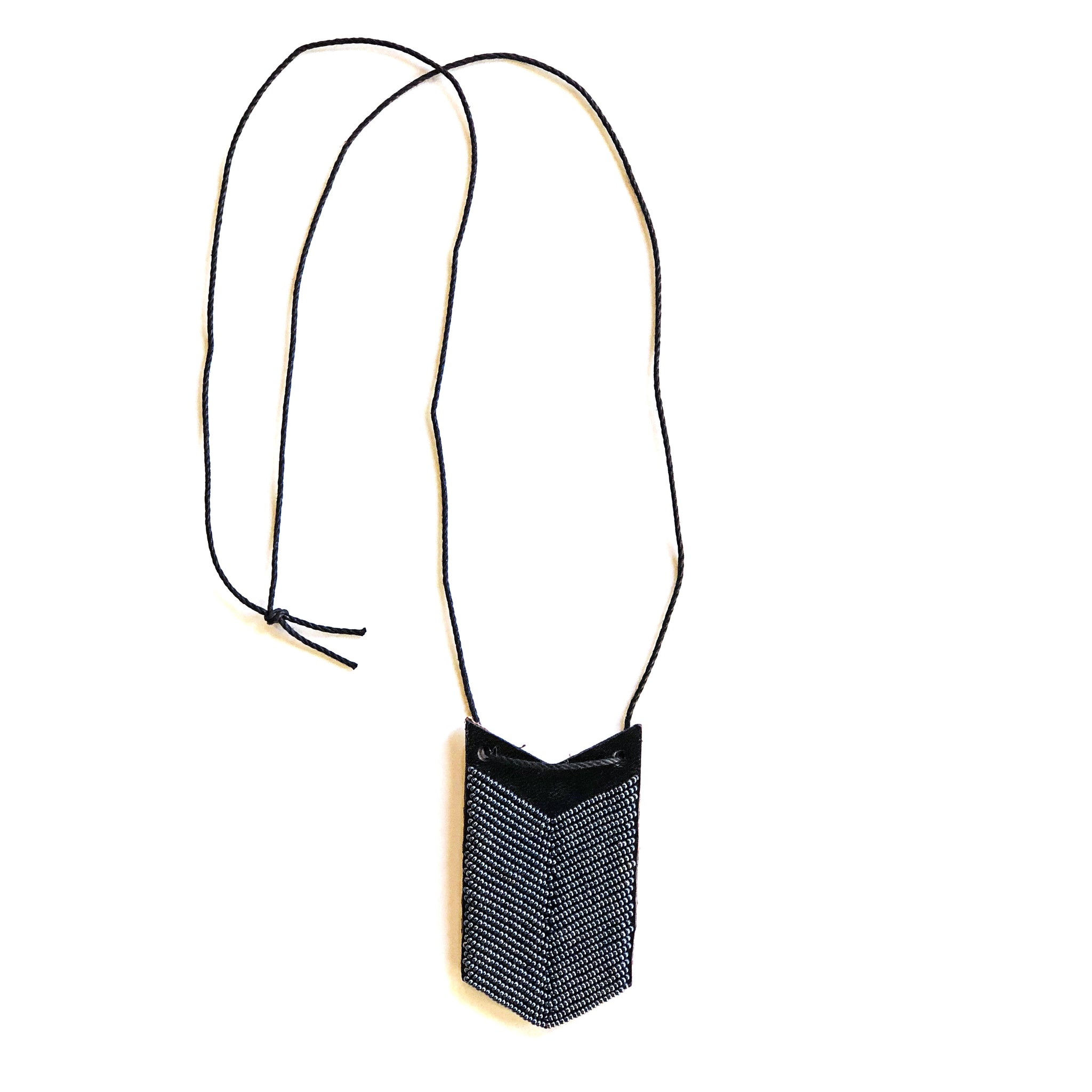 Slate Leather Chevron Necklace