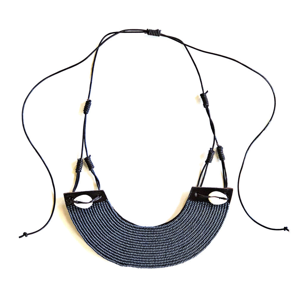 Slate Leather Arc Bib Necklace