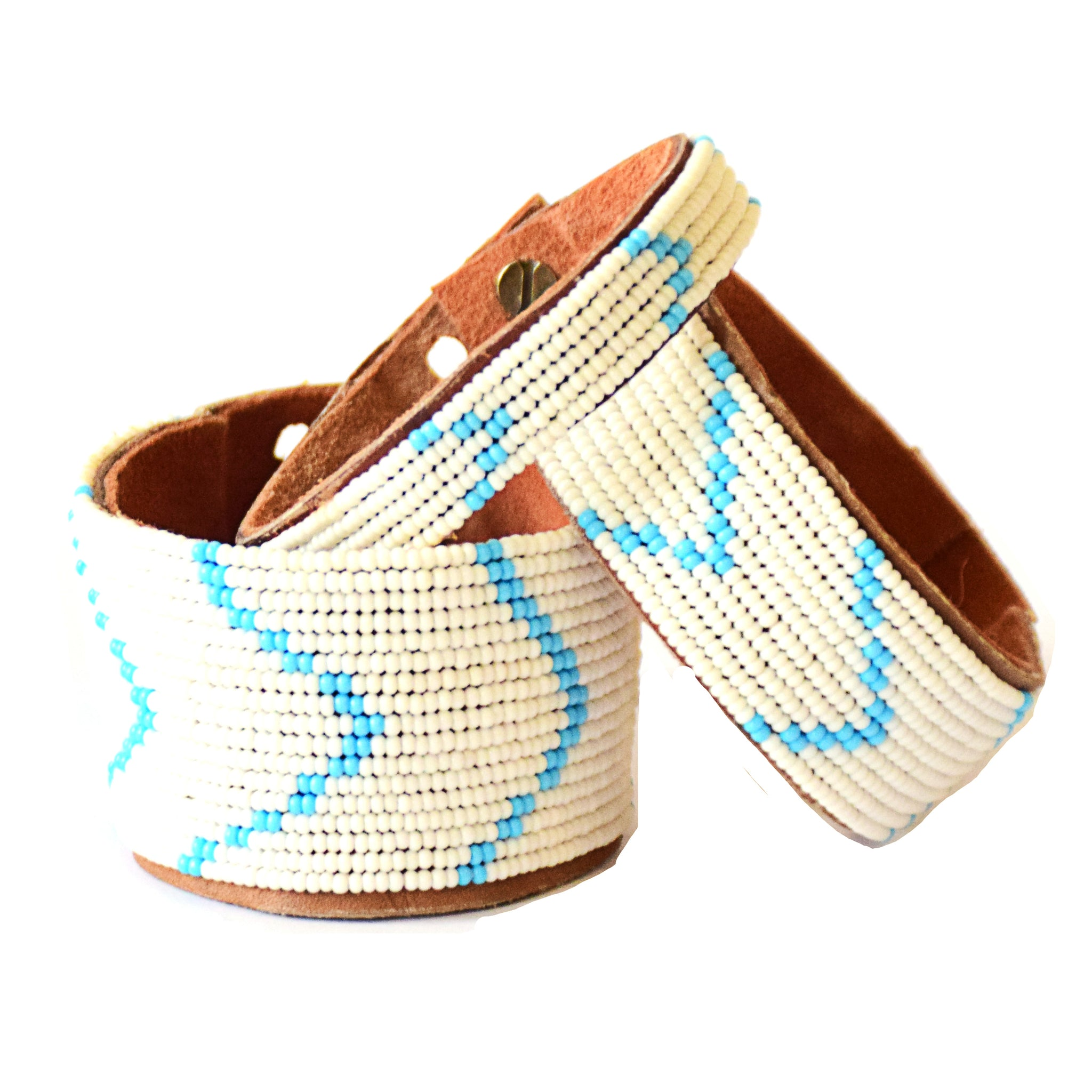 Chevron Light Blue Beaded Leather Cuff